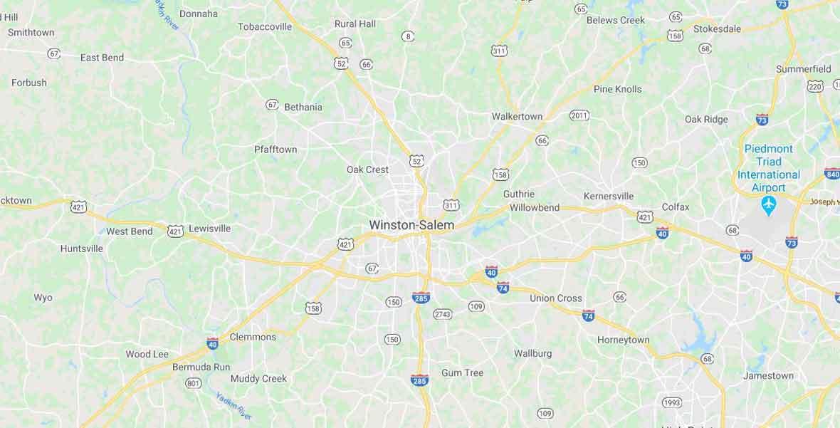 Winston Salem Plumbers Service Area Map